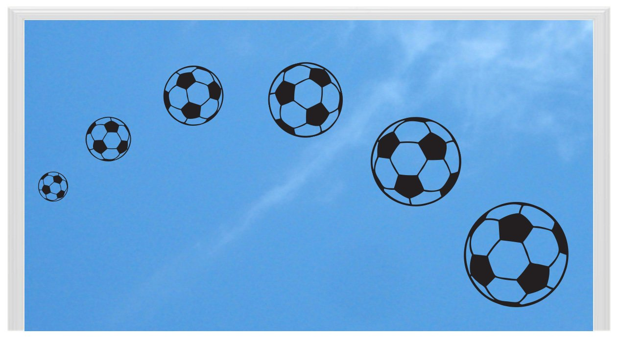 Lini® Sticker: Fußball 6er Set Aufkleber Fußbälle Soccer Ball WM 2014 Fanartikel Deko für Fenster Wandtattoo Auto etc. (schwarz) günstig