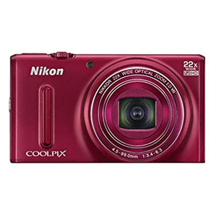 Nikon Coolpix S9600 16MP Point and Shoot Camera (Red) with 22x Optical Zoom, 4GB Card and Camera Case