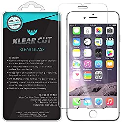 Klear Cut KlearGlass - 9H Hardness Tempered Glass Screen Protector for Apple iPhone 6 w/ Lifetime Replacement / HD Ballistic Glass / Oleophobic Shatterproof & Anti-Bubble Shield