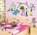 ufengke® Castillo de la Princesa  la Princesa y el Príncipe Pegatinas de Pared, Vivero Habitación de los Niños Removible Etiquetas de la Pared / Murales