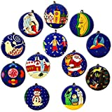Diwali Ornaments Blue Decor Paper Mache Balls Set of 12