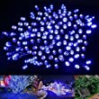 LE� LED Solar Fairy String Lights, 17 Meters, 100 LEDs, Waterproof, Blue, Portable, with Light Sensor, Outdoor String Lights, Christmas Lights, Wedding, Party