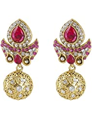 INAYA Brass Crystal And Yellow Gold Plated Earring Set With Pink Chaton Stone, 1 Pair