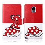Fashion Youth Series Cute Design Tortoise Bow Bowknot Polka Dot Wallet Flip Case Folio PU Leather Stand Cover with Card Slots for Samsung Galaxy Note 4 N910 + Free Lovely Gift