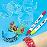Stained Glass Effect Acrylic Bangles 54mm Diameter, for Children to Design & Paint (Pack of 6)
