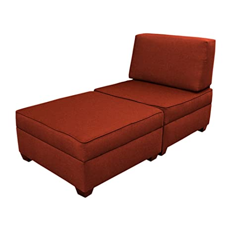 duobed Convertible Chaise Lounge-to-Twin Bed, Brick