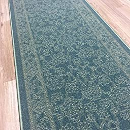 Custom Size TEAL-GREEN Egyptian Print Traditional Persian Rubber Backed Non-Slip Hallway Stair Runner Rug Carpet 22 inch Wide Choose Your Length 22in X 18ft