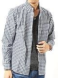 (アーケード) ARCADE 秋 ボタンダウン シャツ メンズ 長袖 ブロード チェックシャツ 白シャツ M ホワイト×ネイビー(8)