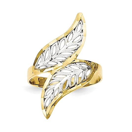 10k Gold and Rhodium Diamond-cut Filigree Ring - Higher Gold Grade Than 9ct Gold
