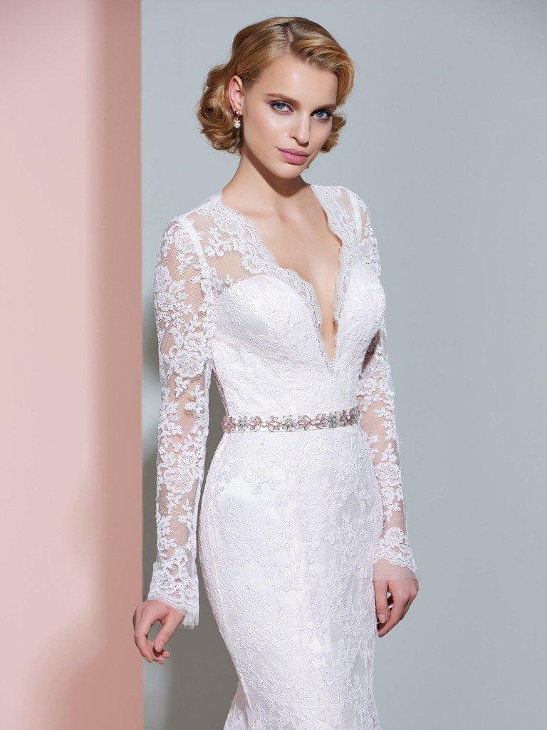 CLOCOLOR Women's Sheer Long Sleeve Deep V Neck Mermaid Vintage Lace Wedding Dress 3