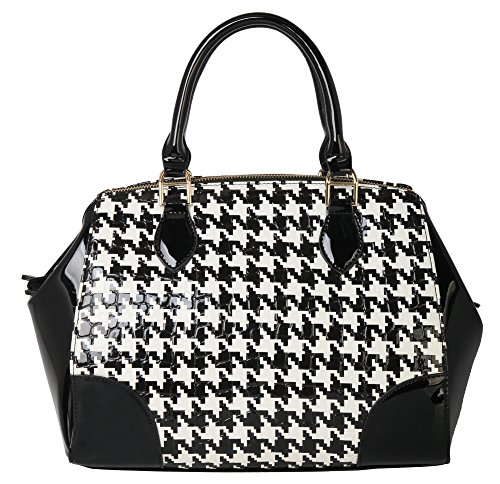 Rimen & Co.Womens Fashion Shell Patent Houndstooth Executive Collection Faux Leather Satchel Handbag Fashion Handbag Purse QN-2856 (Black)