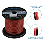 BNTECHGO 22 Gauge Flexible 2 Conductor Parallel Silicone Wire Spool Red Black High Resistant 200 deg C 600V for Single Color LED Strip Extension Cable Cord,Model,Lead Wire 250ft Stranded Copper Wire