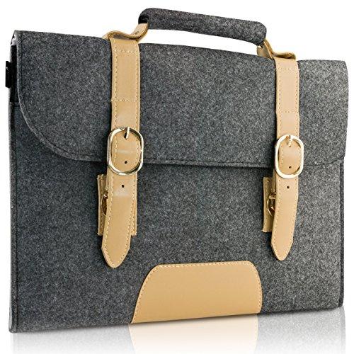 "13-13.3 Inch MacBook Air Sleeve/ MacBook Pro Retina Sleeve Carrying Bag, Natur® 13"" 13.3"" Laptop Sleeve Slim Felt Laptop Carry Bag with PU Leather Computer Protective Sleeve Case - Dark Grey"