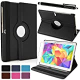 LK Samsung Galaxy Tab S 10.5 SM-T800 Luxury 360 Rotating Magnetic Smart PU Leather Case Cover with Auto Sleep/Wake Feature + Stylus Pen (Black)