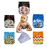 Baby Waterproof AI2 All-in-two Charcoal Bamboo Cloth Diaper Nappies by Ohbabyka (AI20-01) (Color: Ai20-01, Tamaño: One Size)