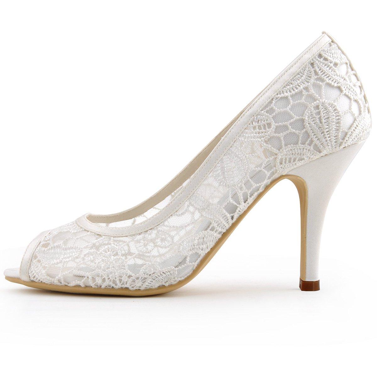 ElegantPark Ivory Women Peep Toe High Heel Pumps Vintage Lace Wedding Dress Shoes 1