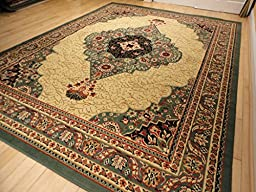 New Large 8x11 Green Persian Style Area Rug Green Traditional Rugs for Living Room 8x10 Persian Green Red Cream Beige Rugs (Large 8\'x11\' Rug)