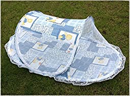 Portable Folding Baby Kid Toddler Child Infant Newborn Nursery Travel Bed Crib Canopy Pop Up Mosquito Net Netting Play Tent Playpen House Playhouse Castle Outdoor Indoor Carry Case (Blue)