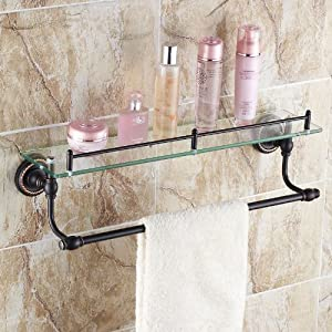 Oil Rubbed Bronze Bathroom Glass Shelf Wall Mount