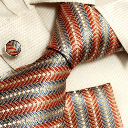 Blue orange pattern cheap ties for men khaki