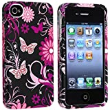 eForCity Snap-on Rubber Coated Case compatible with Apple® iPhone® 4 / 4S, Pink / Black Butterfly