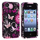 Snap-on Rubber Coated Case compatible with Apple iPhone 4 / 4S, Pink / Black Butterfly