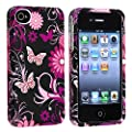 eForCity Snap-on Rubber Coated Case compatible with Apple� iPhone� 4 / 4S, Pink / Black Butterfly