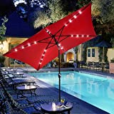 10X6.5' Feet Rectangle Outdoor Patio Aluminium Umbrella Solar LED Crank Tilt Beach - RED