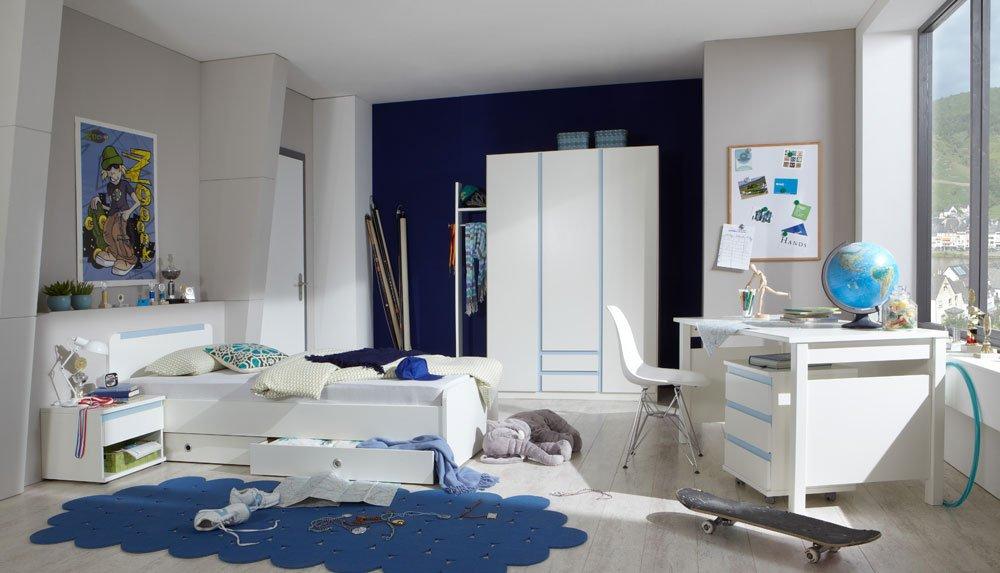 Jugendzimmer 4-tlg. in Alpinweiß und Abs. in Iceblau, Kleiderschrank B: 135 cm, Bett 90×200 cm Rollcontainer B: 46 cm, Schreibtisch B: 140 cm