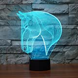 3D Lamp LED night light Novelty Animal Left zebra 7 Color Change Table Lamp Xmas Toy Gift