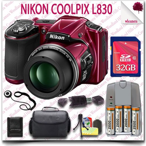 Nikon Coolpix L830 Cmos Digital Camera (Red) + Aa Batteries And Charger + 32Gb Sdhc Class 10 Card + Slr Gadget Bag 10Pc Nikon Saver Bundle