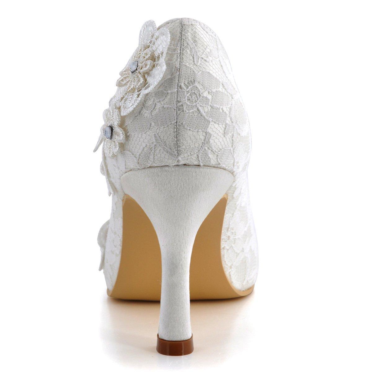 ElegantPark Women Vintage Closed Toe Pumps High Heel Flowers Lace Wedding Bridal Dress Shoes 2