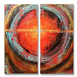 Neron Art - Handpainted Abstract Oil Painting on Gallery Wrapped Canvas Group of 2 pieces - Kuala Lumpur 16X16 inches