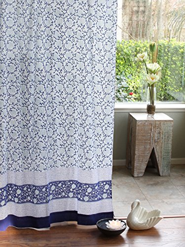 Midnight Lotus (c) ~ Unique Asian Blue Floral Curtain Panel 46x84 (Lotus Water Treatment System compare prices)