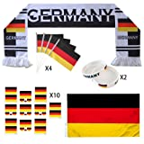 KingShark World Cup 2018 Set, Football Suit Fans Scarf, Germany, Hand Held Flags, Big National Flag, Tattoo Stickers, Silicone Wristbands, Party Club Bar Decorations Festival Celebration (Color: DE)