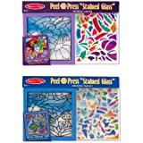 Melissa & Doug Peel & Press Stained Glass Bundle contains Rainbow Garden and Undersea Fantasy