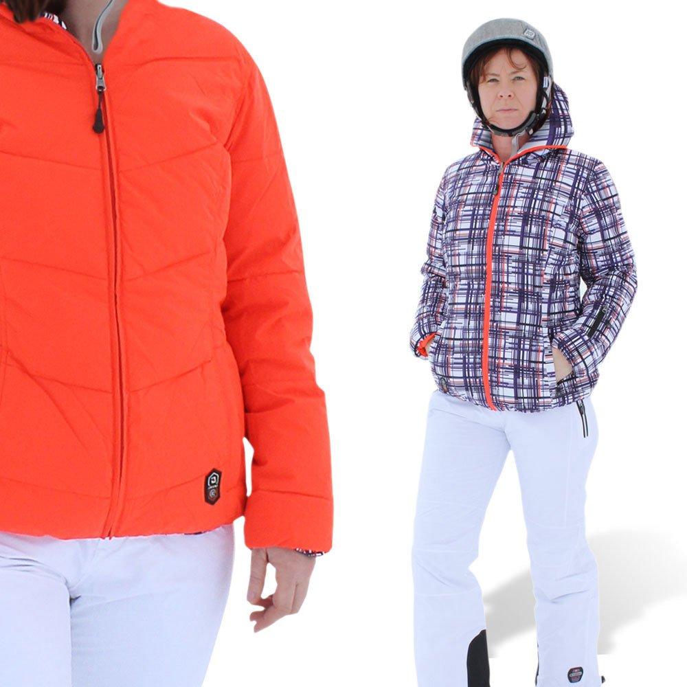 """Killtec® Damen Ski Hose mit Kantenschutz + Trägern """"Nukka"""" weiß + Daunen Wende Skijacke """"Motomba"""" karo Muster lila weiß / orange 36 38 40 42 44 günstig bestellen"""