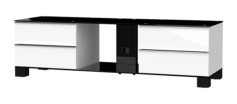 Sonorous MD 9540-B-HBLK-WHT Fernseher-Möbel mit Schwarzglas (Aluminium Hochglanz, Korpus Hochglanzdekor) weiß/schwarz