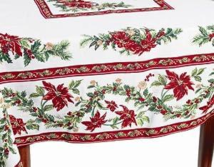Amazon Com April Cornell 80 Inch Round Tablecloth Noel