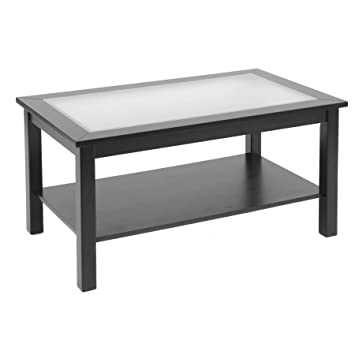 Bay Shore Collection Coffee Table with Glass Insert Top and Lower Shelf, Black