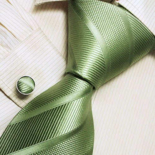 Italian Style Green Designer Ties For Men Silk Necktie Cufflinks Set A1158