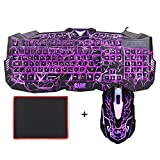 Gaming Keyboard and Mouse Set, MFTEK USB Wired LED 3 Color...