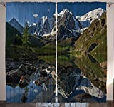 Ambesonne Landscape Wildlife Home Decor, Nature Snowy Mountains Lake Spring View River Scenery Picture Art , Bedroom Living Room Curtain 2 Panels Set, 108 X 84 Inches, Blue Green White
