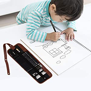 Sketching Pencil Set, Drawing Pen Charcoal Sketch Included Graphite Pencils, Charcoal Pencils, Paper Erasable Pen, 30pcs Total for Beginners Artist (First Sketch Pencil) (Style 1) (Style 1) (Color: Style 1, Tamaño: First sketch pencil)