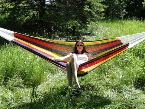 Outdoor Hand-Made Double Mayan Hammock – Hot Colors