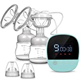 Electric Breast Pump - MOSFiATA Rechargeable Nursing Breastfeeding Pump with Massage Mode, LCD Smart Touch Screen, 3 Modes and Backflow Protector BPA Free (Color: Blue, Tamaño: 150 ML)