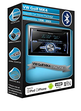 VW Golf MK4 Pioneer Lecteur CD MP3 X700BT FH-Kit mains-libres Bluetooth stéréo