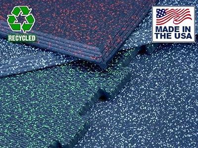 "Humane Loktuff Vulcanized Rubber Interlocking Flooring Kit 12' x 12' x 1/2"" w/Beveled Edges"