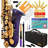 360-PR - Purple/Gold Keys Eb E Flat Alto Saxophone Sax Lazarro+11 Reeds,Music Pocketbook,Case,Care Kit - 24 Colors with Silver or Gold Keys
