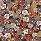 【定番和柄・和調プリント】金粉菊花紋章 4色あります 1m単位で切り売りいたします (紫)